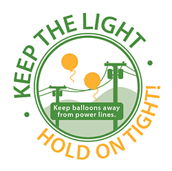 keep balloons away from power lines logo
